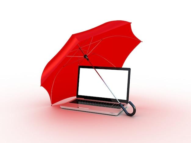 빨간색 우산 아래 노트북입니다. 3d 일러스트레이션