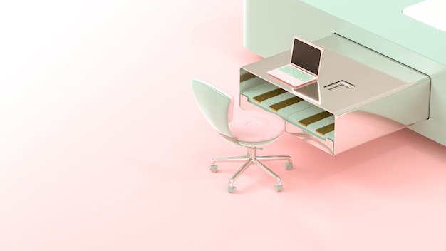 Laptop on usb flash drive table shape pink and green pastel color, 3d render.