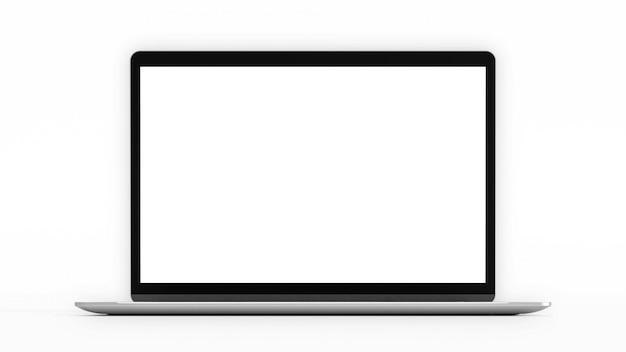 空白の画面を持つノートパソコン。コンピューターのモックアップとクリッピングパス。 3 dのレンダリング。