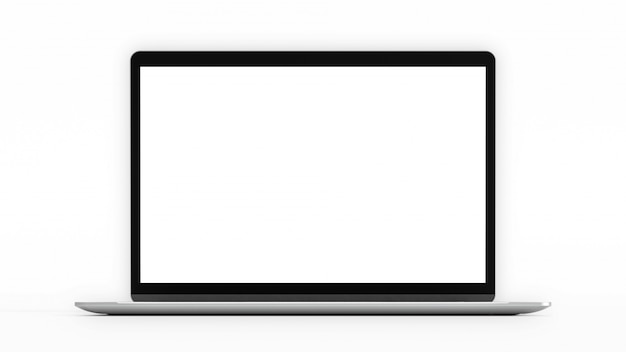 Laptop with blank screen. computer mockup and clipping path.  3d render.