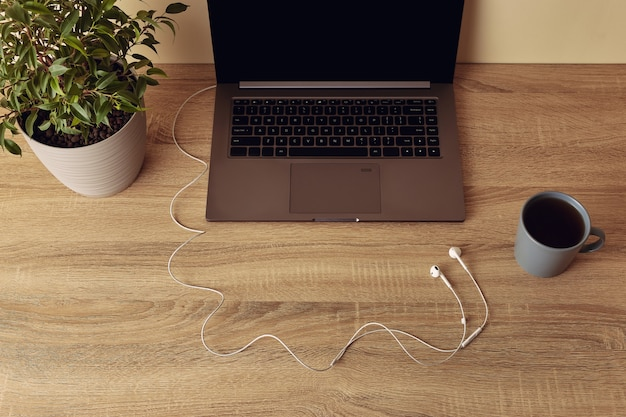 Ноутбук с пустой экран, растение в горшке, кружка и наушники с белым кабелем.