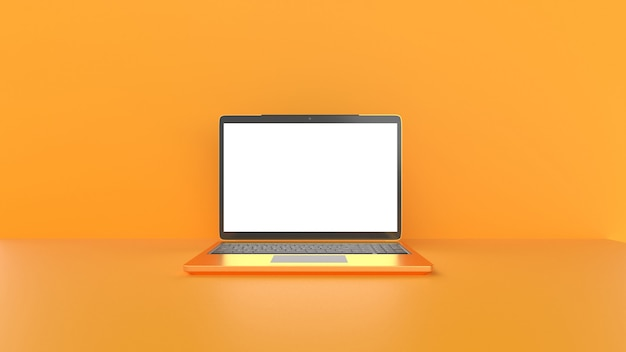 Laptop with blank screen.