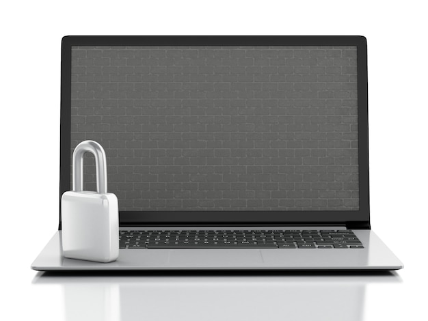 Laptop with brick wall and lock. firewall and security concept. 3d illutration.