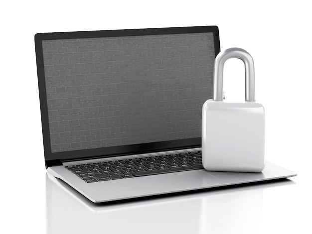 Laptop with brick wall and lock.
