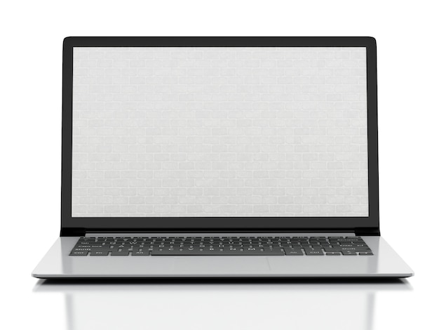 Laptop with brick wall screen. firewall concept. isolated white background. 3d illustration