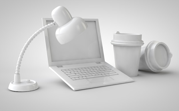 Laptop with coffee cups home office and table lamp 3d illustration mockup monochrome