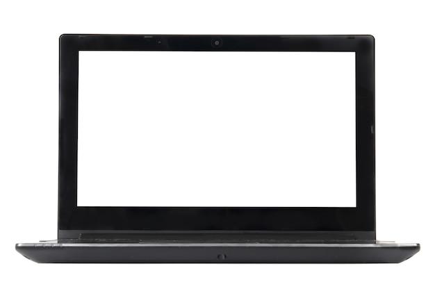 Laptop with empty screen isolated on white. front view.