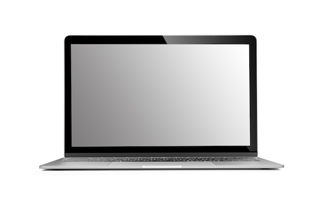 Laptop with empty space isolated on white background