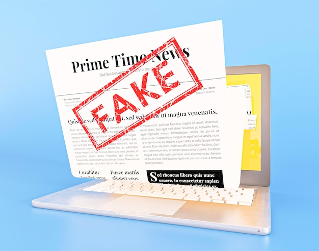 가짜 뉴스 웹 페이지가있는 노트북