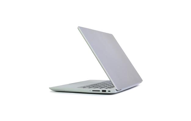 흰색 배경에 격리된 접기 화면이 있는 노트북. 클리핑 패스가 있는 노트북 컴퓨터