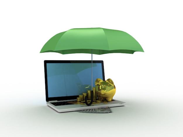 傘の下に金の貯金箱が付いているラップトップ。 3dイラスト