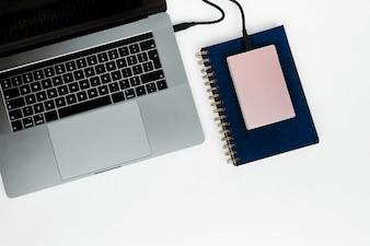 Laptop with hard disk and notebook