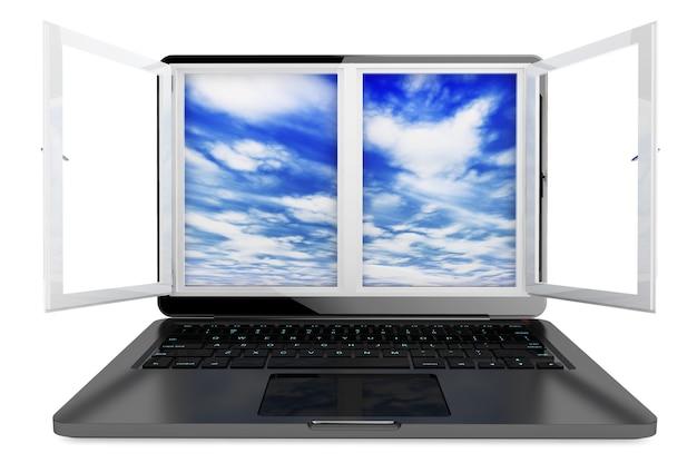 흰색 배경에 열린 창과 하늘 전망이 있는 노트북