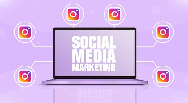 화면에 소셜 미디어 마케팅이 있는 노트북과 3d 주위에 인스타그램 로고 아이콘