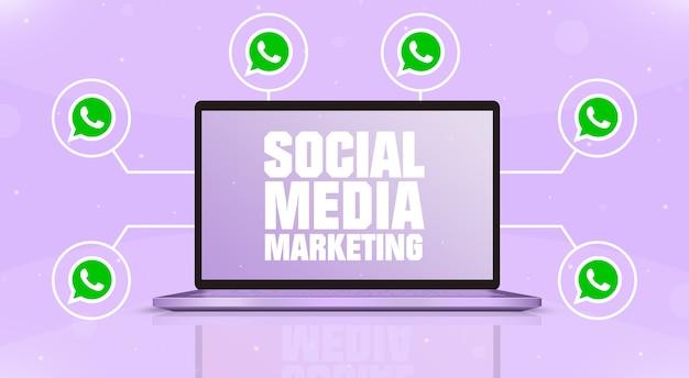 Ноутбук с маркетингом в социальных сетях на экране и значками логотипа whatsapp вокруг 3d