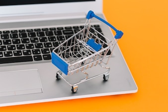 Laptop with toy shopping trolley