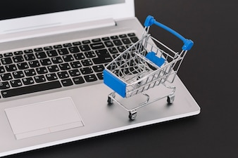 Laptop with toy supermarket cart