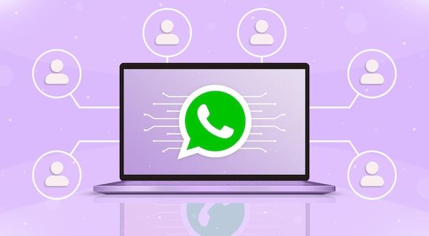 Ноутбук с логотипом whatsapp на экране и значками пользователей вокруг 3d