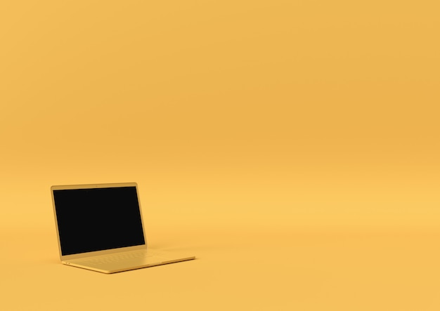 Laptop yellow color with copy space for your text, minimal concept 3d render, 3d illustration.