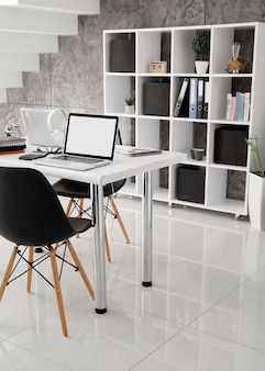 Laptops on desks in the office