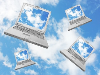 Laptops falling from a blue sky