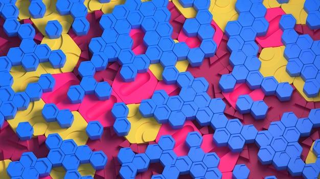 Большие и маленькие гексы образуют прохладный абстрактный фон. 3d визуализация