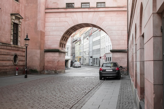 A large architectural arch on a street