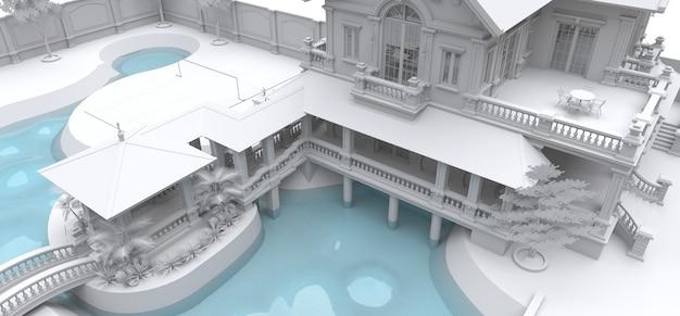 Большая вилла в азиатском стиле с садом, бассейном и теннисным кортом. здание и территория в контурных линиях с мягкими рассеянными тенями. 3d иллюстрация