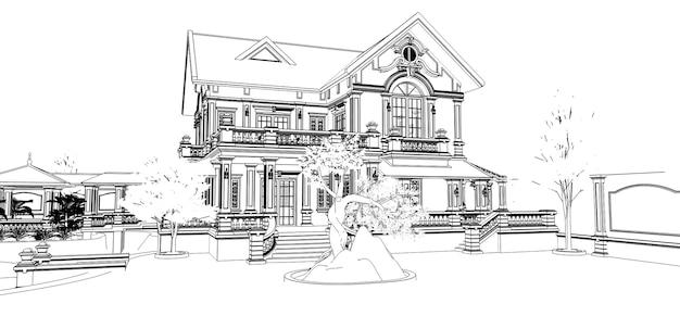 Большая вилла в азиатском стиле с садом, бассейном и теннисным кортом. здание и территория в контурных линиях с мягкими рассеянными тенями. 3d иллюстрации.