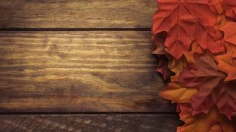 大きな秋のカエデの葉の組成