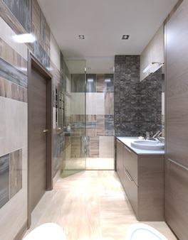 Large bathroom modern interior with one of the most unusual solutions mixing the tiles on the walls.