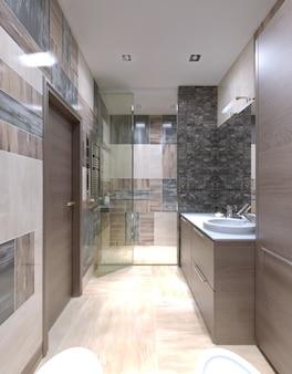 Большой современный интерьер ванной комнаты с одним из самых необычных решений смешивания плитки на стенах.