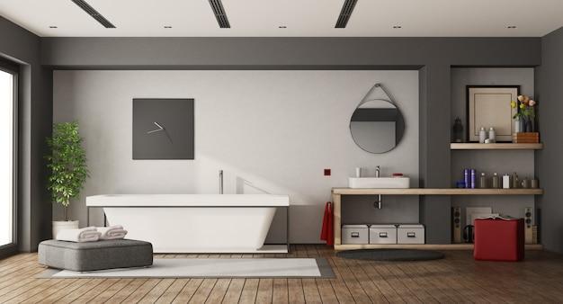 Large bathroom with bathtub and washbasin