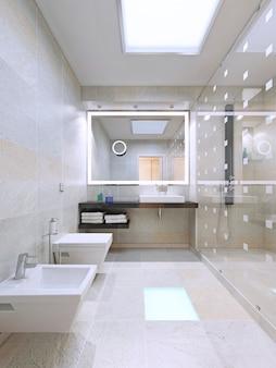 シャワールーム付きの広いバスルーム。 3dレンダリング