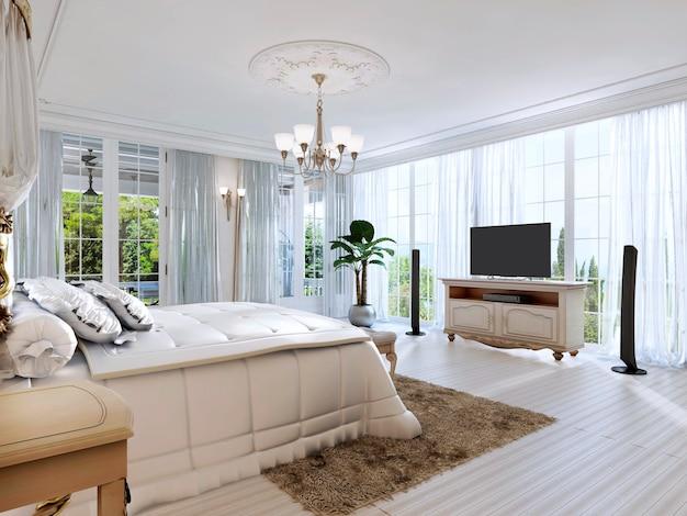 Большая спальня с панорамными окнами и прекрасным видом. 3d визуализация