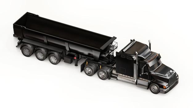 흰색 바탕에 벌크 화물을 운송하기 위한 트레일러 유형 덤프 트럭이 있는 대형 검정 미국 트럭. 3d 그림입니다.