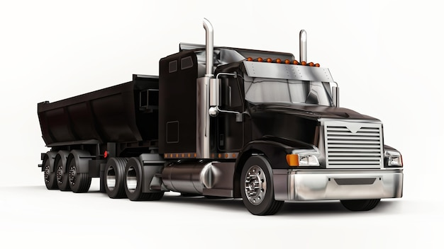 Large black american truck with a trailer type dump truck for transporting bulk cargo on a white background. 3d illustration.