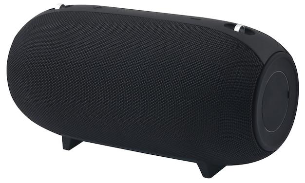 白い背景の上の大きな黒い音楽ワイヤレススピーカー