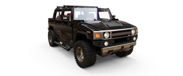 Large black off-road pickup truck for countryside or expeditions on white isolated background. 3d illustration.