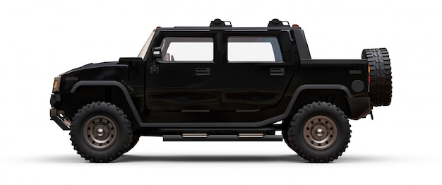 Large black off-road pickup truck for countryside or expeditions