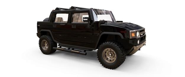 시골이나 흰색 외진 배경의 탐험을 위한 대형 검은색 오프로드 픽업 트럭. 3d 그림입니다.