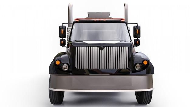 Большой черный автоцистерна с прицепом из полированного металла. взгляды со всех сторон
