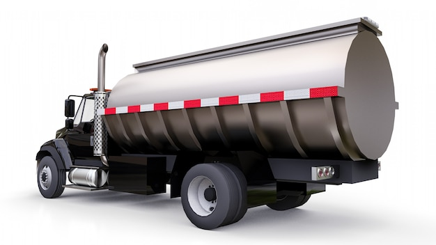 Large black truck tanker with a polished metal trailer. views from all sides