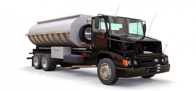 Large black truck tanker with a polished metal trailer