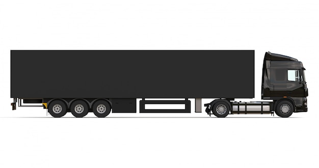 Large black truck with semitrailer template for placing graphics