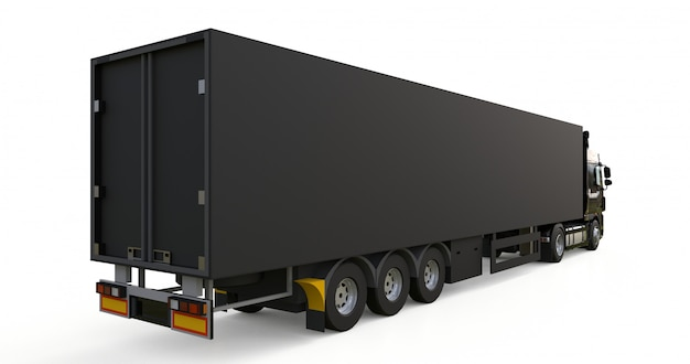 Large black truck with a semitrailer