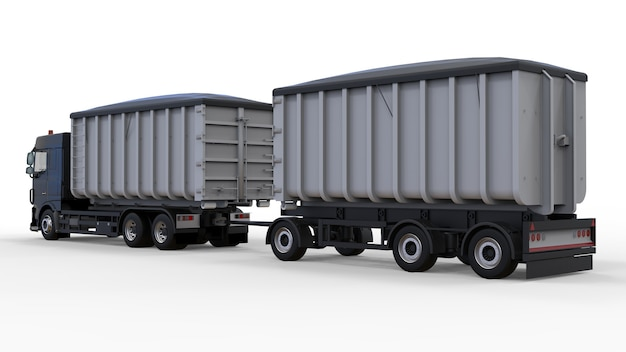 Большой черный грузовик с отдельным прицепом для перевозки сельскохозяйственных и строительных сыпучих материалов и продуктов. 3d рендеринг.