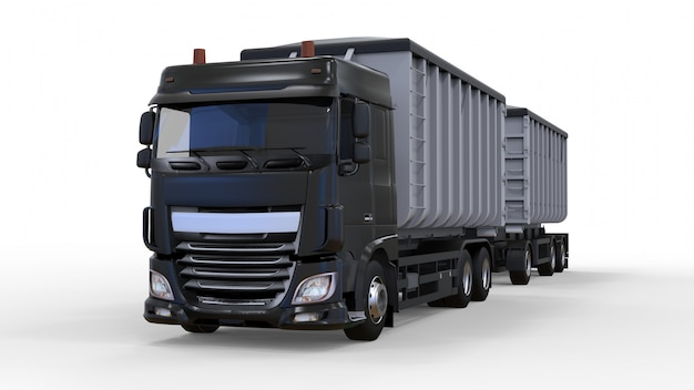 Large black truck with separate trailer, for transportation of agricultural and building bulk materials and products