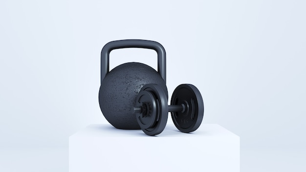 A large black weight on a white podium.
