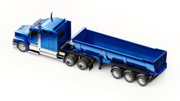 흰색 배경에 벌크 화물을 운송하기 위한 트레일러 유형 덤프 트럭이 있는 대형 파란색 미국 트럭. 3d 그림입니다.